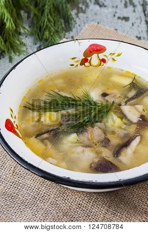 mushroom soup in a rustic style on wooden background