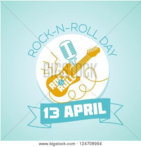 Calendar for each day on April 13. Holiday - World Rock-n-roll Day. Icon in the linear style