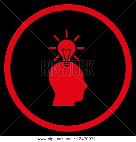 Genius Bulb vector icon. Image style is a flat icon symbol inside a circle, red color, black background.