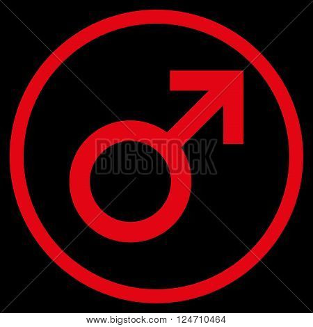 Male Symbol vector icon. Image style is a flat icon symbol inside a circle, red color, black background.