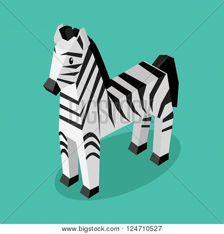 Isomeric animal zebra isolated. Beautiful animals in an isometric style of a 3d zebra with a striped pattern isolated on background, rare unusual creature standing a single. Vector illustration