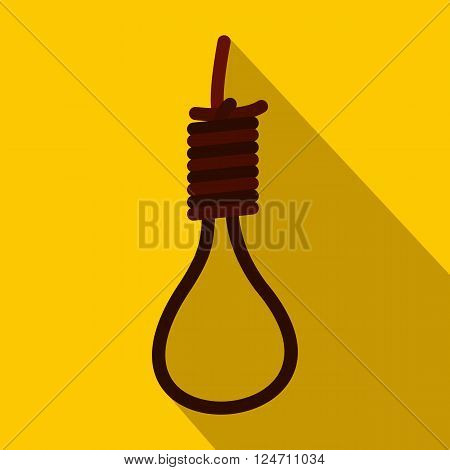 Loop of rope icon in flat style on yellow background. Thick braided rope with a knot