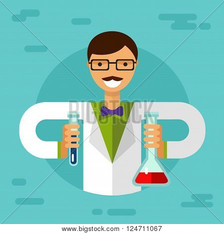 Vector flat style illustration of scientist smiling men in glasses with flasks and making research. Chemistry laboratory research concept.