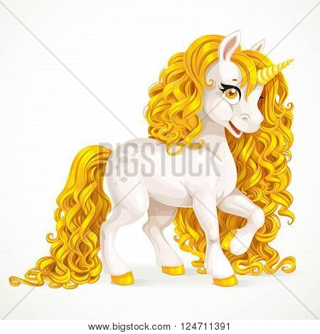 White fabulous unicorn with golden mane isolated on a white background