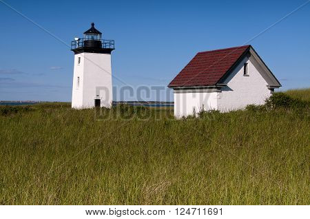 Provincetown lighthouse on a summer day at the tip of Cape Cod, in Massachusetts.