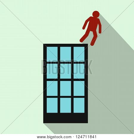 Red man falling down of multistory building icon in flat style on light green background
