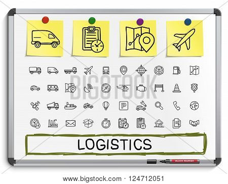 Logistic hand drawing line icons. Vector doodle pictogram set. sketch sign illustration on white marker board with paper stickers. ship, truck, mobile, transport, shipping.