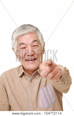 senior Japanese man decided on white background