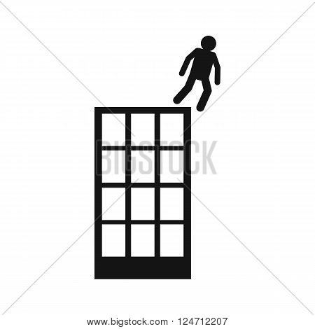 Man falling down of multistory building icon in black simple style isolated on white background