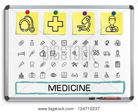 Medical hand drawing line icons. Vector doodle pictogram set. sketch sign illustration on white marker board with paper stickers. hospital, emergency, doctor, nurse, pharmacy, medicine, health care.