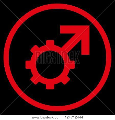 Technological Potence vector icon. Image style is a flat icon symbol inside a circle, red color, black background.
