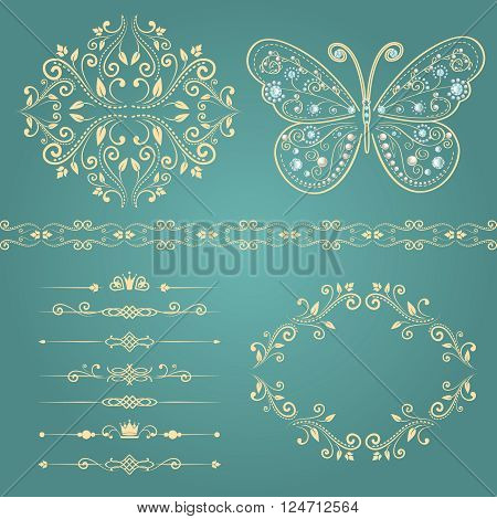 set of floral border, frame, dividers. with vintage butterfly with elegance ornament encrusted jewels. isolated on blue background. vector illustration of luxury calligraphic design elements
