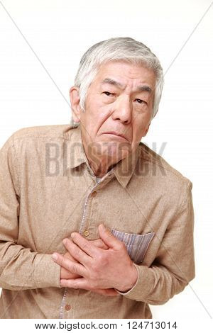 portrait of  senior Japanese man heart attack
