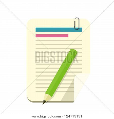 Paper sheet pencil pen and divider isolated icon. Office document page, paper sheet notepaper, accessories pencil stationery, paperwork and divider instrument vector illustration