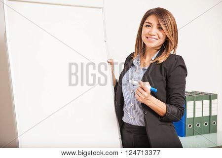 Beautiful Language Teacher During A Class