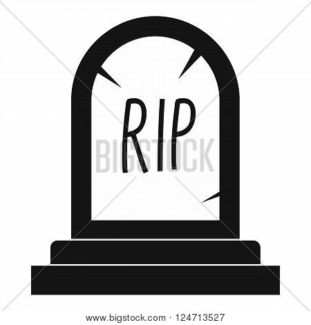 Grave icon in black simple style isolated on white background