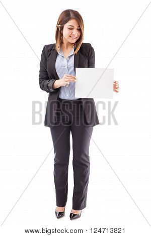 Businesswoman Holding A Sign
