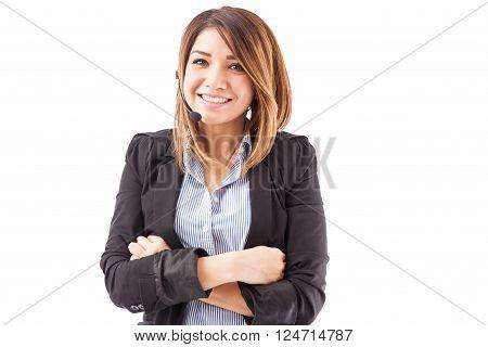 Beautiful Hispanic Telemarketer With Headset