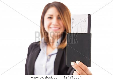 Woman Handing Over Travel Documents