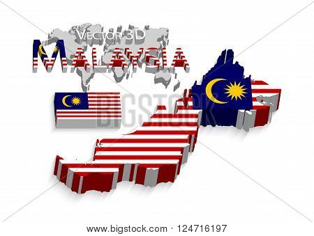Malaysia 3D, flag and map, transportation and tourism concept.