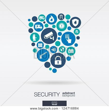 Color circles, flat icons in a shield shape, technology, guard, protection, safety, control concepts. Abstract background with connected objects in integrated group of elements. Vector illustration.