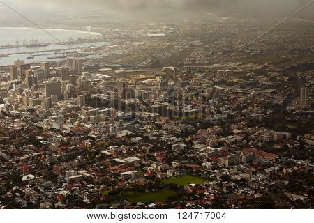 High angle view of a city with a harbour