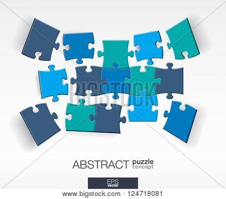Abstract background with connected color puzzles, integrated elements