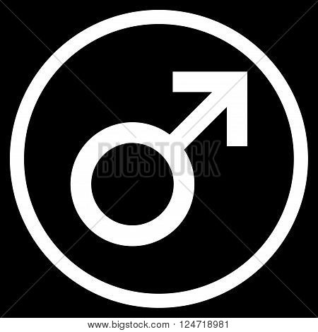 Male Symbol vector icon. Image style is a flat icon symbol inside a circle, white color, black background.