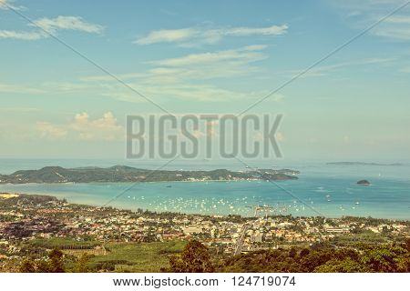 Vintage style high angle view beautiful landscape of Ao Chalong bay and city sea side in Phuket Province Thailand