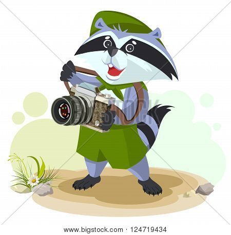 Scout raccoon with camera. Cartoon illustration in vector format