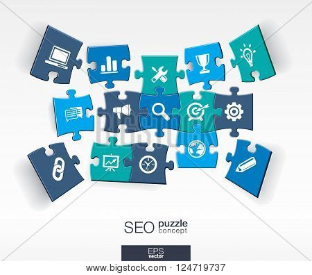 Abstract SEO background with connected color puzzles, integrated flat icons. 3d infographic concept with network, digital, analytics, data and market pieces in perspective. Vector illustration