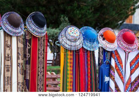 beautiful scarves and hats in a market in Peru