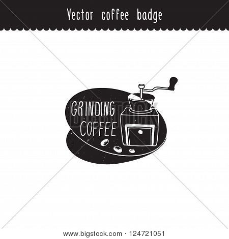 Vector hand drawn coffee brand design element. Grinding coffee label . Coffee sketches isolated on white.