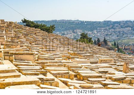The ancient Jewish cemetery on the Mount of Olives in Jerusalem
