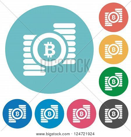 Flat bitcoins sign icon set on round color background.