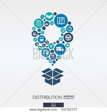 Color circles, flat icons in a map pointer and box shape for distribution, delivery service, shipping, logistic, transport concepts. Abstract background, connected objects. Vector illustration.