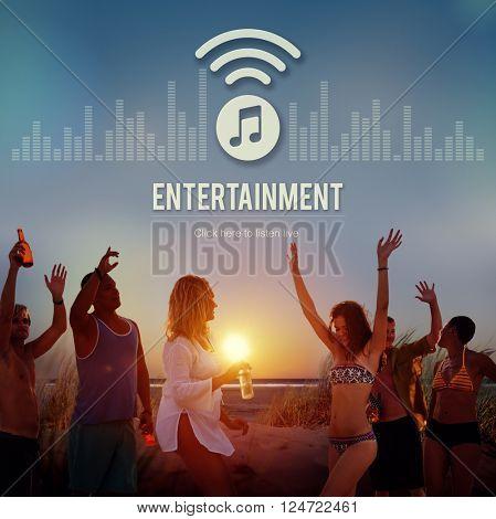 Entertainment Broardcasting Media Online Music Concept