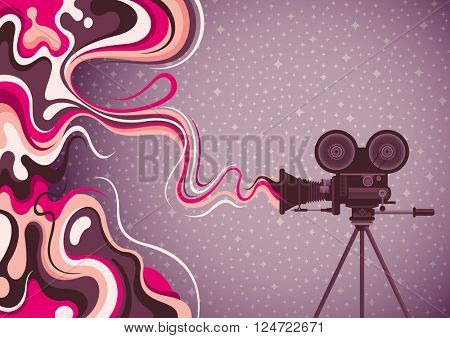Liquid abstraction with movie camera. Vector illustration.