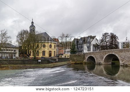 view of Lahn river with bridge and church in Wetzlar Germany ** Note: Soft Focus at 100%, best at smaller sizes