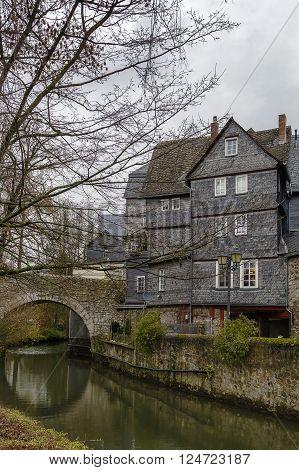 historic houses on the Lahn river bank in Wetzlar Germany