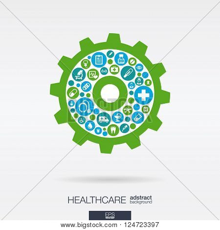 Color circles with flat icons in a cogwheel shape, medical, health, healthcare mechanism concepts. Abstract background with connected objects in integrated group of elements. Vector illustration.