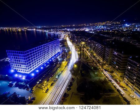 Aerial View Of City Thessaloniki At Night, Greece.