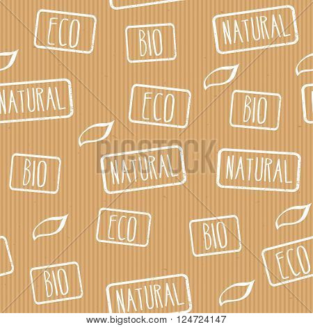 Seamless vector texture. Kraft paper with stamps eco, natural, bio. Ready design for wrapping paper, products with eco label. Business background