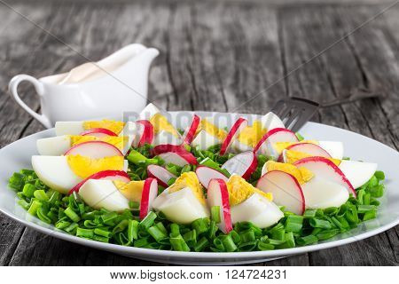 Delicious Spring onion eggs radish salad in a white dish with fork on an old rustic table simply and easy recipe horizontal close-up  ** Note: Visible grain at 100%, best at smaller sizes