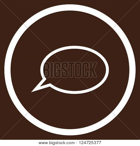 Hint Cloud vector icon. Image style is a flat icon symbol inside a circle, white color, brown background.
