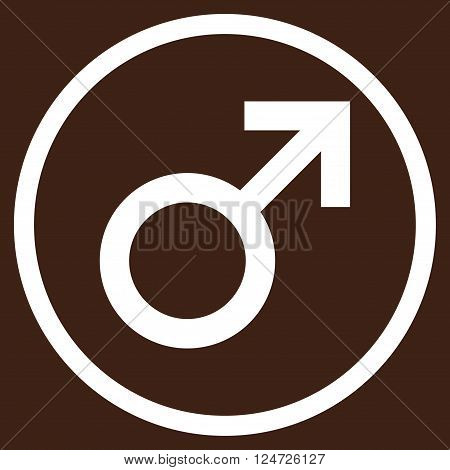 Male Symbol vector icon. Image style is a flat icon symbol inside a circle, white color, brown background.