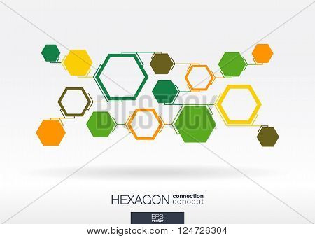 Abstract hexagon background with integrated green polygons. Vector illustration.