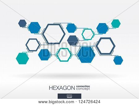 Abstract hexagon background with integrated blue polygons. Vector illustration.