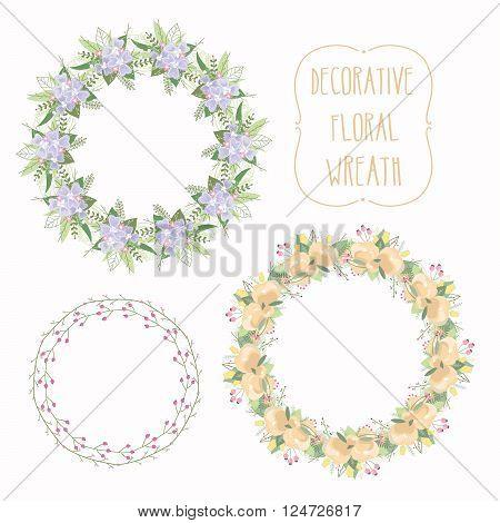 Floral Frame Collection. Set of elegant floral wreath. Design for wedding invitations and birthday cards. Vector Illustration