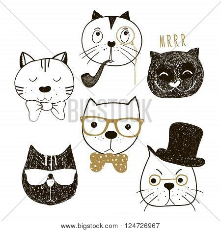 Hand drawn cats heads collection. Emotional faces cats hipsters and gentlemens. Vector illustration